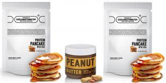 AKCE 2x Sizeandsymmetry Protein Pancake sCHIA 700g + Arašídové máslo s kakaem, kokosem a medem 500g