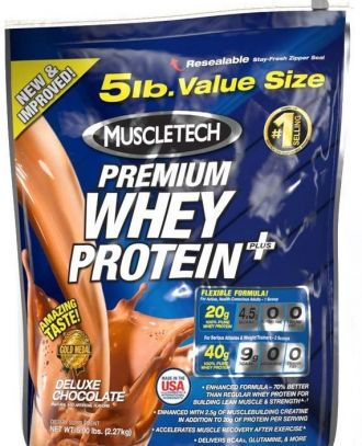 MUSCLETECH 100 % Premium Whey Protein Plus 2270g + 3x Mission1 Clean Protein Bar