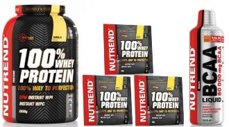 NUTREND 100% WHEY PROTEIN 2250g + BCAA Liquid 1000ml + 3x tester