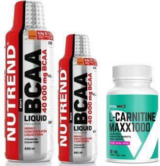 Nutrend BCAA LIQUID 1000ml + 500ml + L-Carnitine MAXX 1000