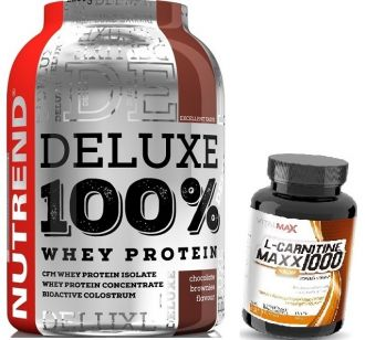 NUTREND DELUXE 100% WHEY 2250g + L-CARNITINE MAXX 1000 30 dávek
