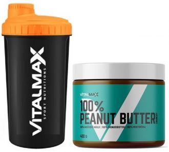 Vitalmax 100% Peanut Butter crunchy 400g + Vitalmax ŠEJKR NEON 700ml ZDARMA