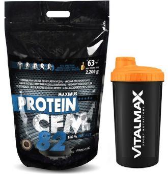 Vitalmax PROTEIN CFM 82 instant / 2200g + Vitalmax ŠEJKR NEON 700ml