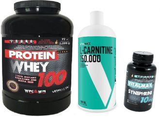 Vitalmax PROTEIN WHEY 100 / 2300g + L-CARNITIN 150.000 LIQUID + Synprhine 30