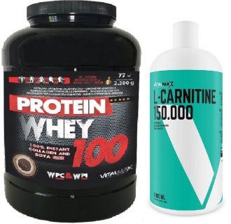Vitalmax PROTEIN WHEY 100 / 2300g + L-CARNITIN 150.000 LIQUID