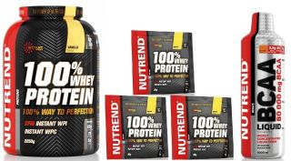 Náhled - NUTREND 100% WHEY PROTEIN 2250g + BCAA Liquid 1000ml + 3x tester
